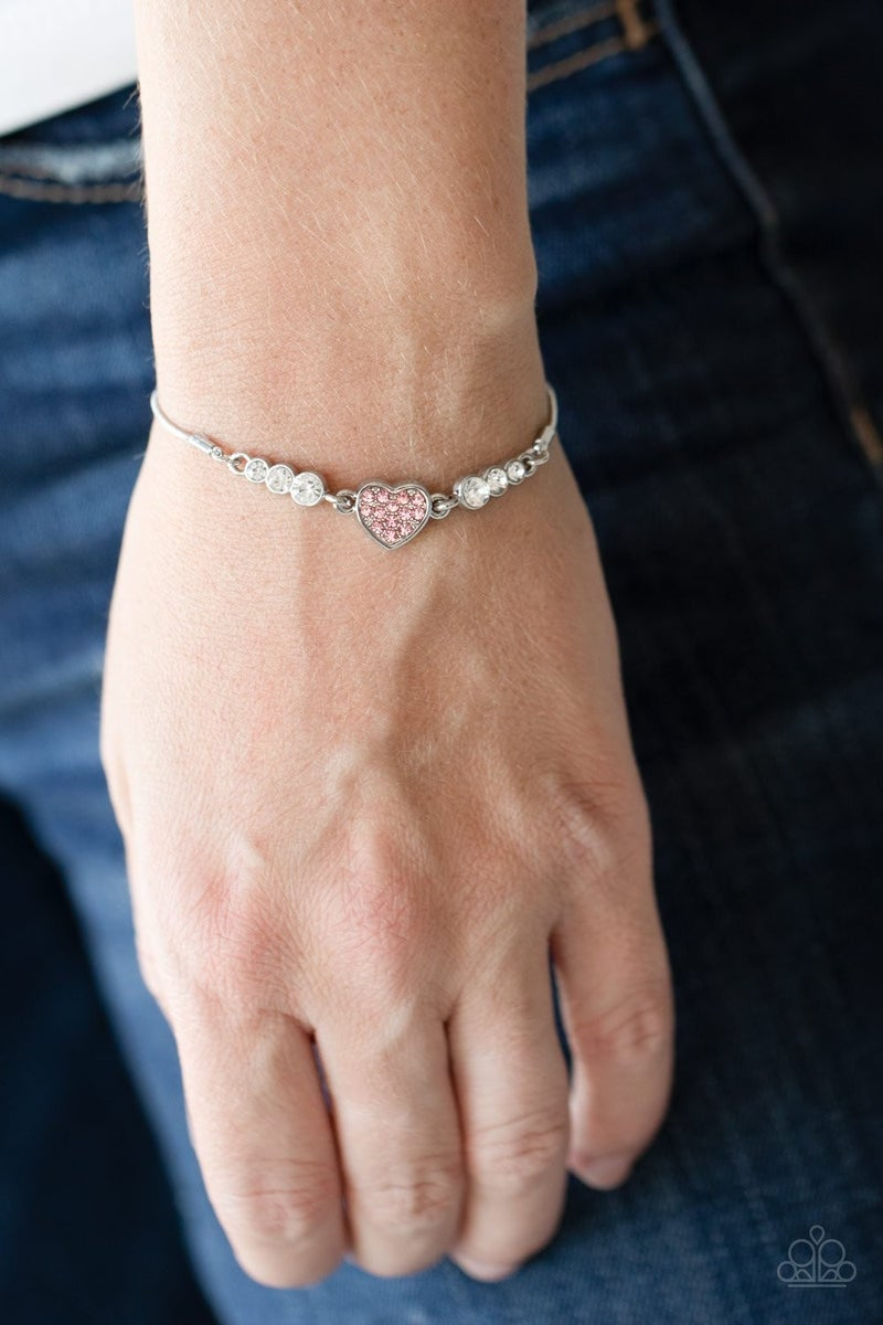 Big-Hearted Beam - Pink Adjustable Bracelet