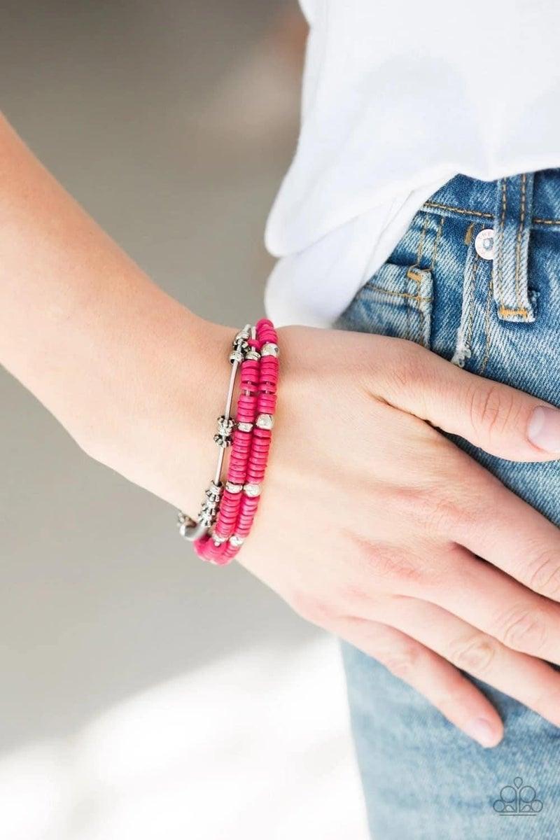 Tribal Spunk - Pink Stretchy Bracelet