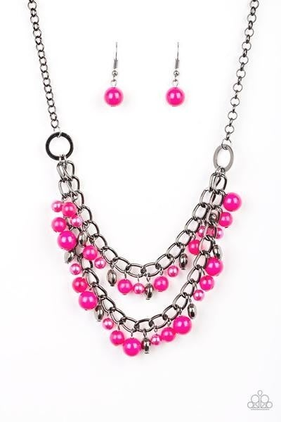 Watch Me Now - Gunmetal/Pink Necklace