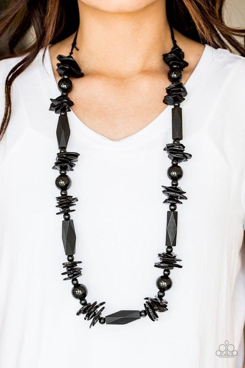 Cozumel Coast - Black Wooden Necklace