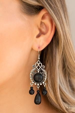 Stone Bliss - Black Earrings