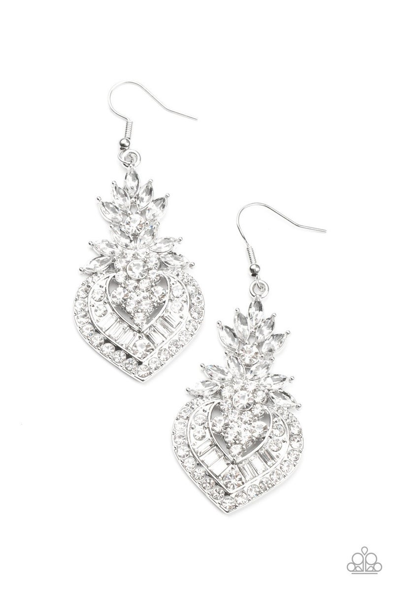 Royal Hustle - White Earrings - Life of the Party Exclusive August 2021