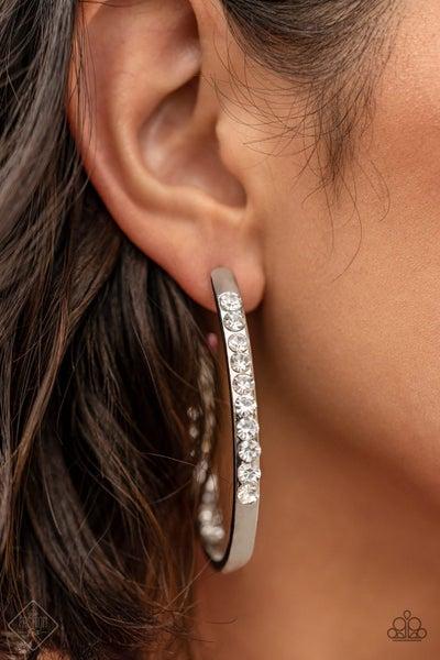 Borderline Brilliance - White Hoop Earrings - February 2021 Fashion Fix
