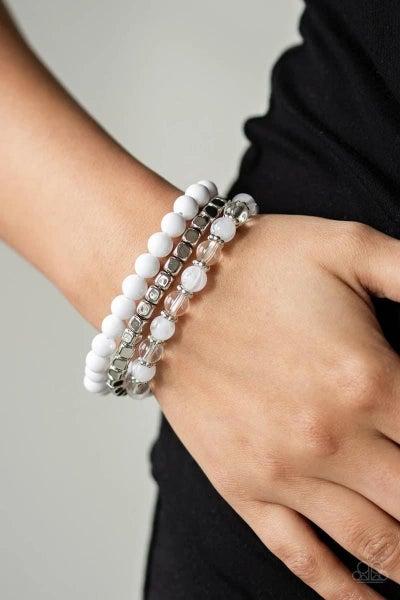 Globetrotter Glam - White Stretchy Bracelet