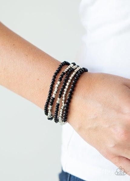 Stacked Showcase - Black Stretchy Bracelet