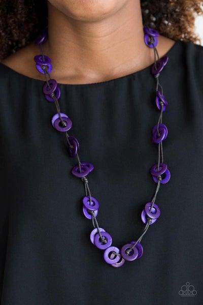 Waikiki Winds - Purple Wooden Necklace