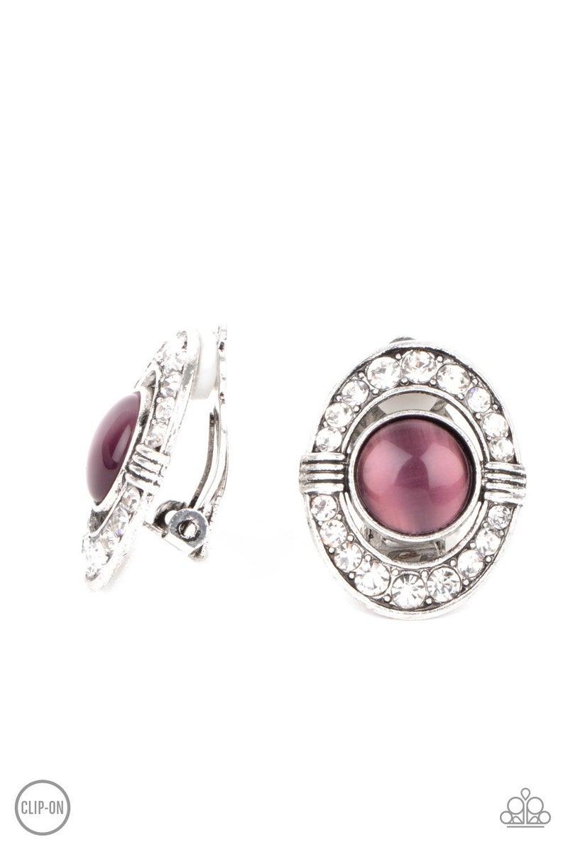 GLOW of Force - Purple Clip-On Earrings