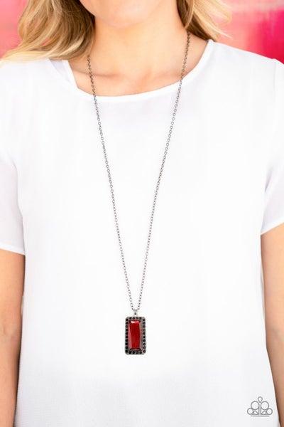 Bada BLING Bada Boom - Red/Gunmetal Necklace