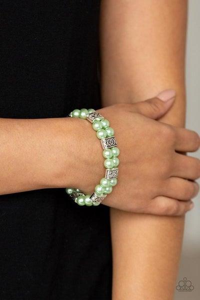 Time after Timeless - Green Stretchy Bracelet