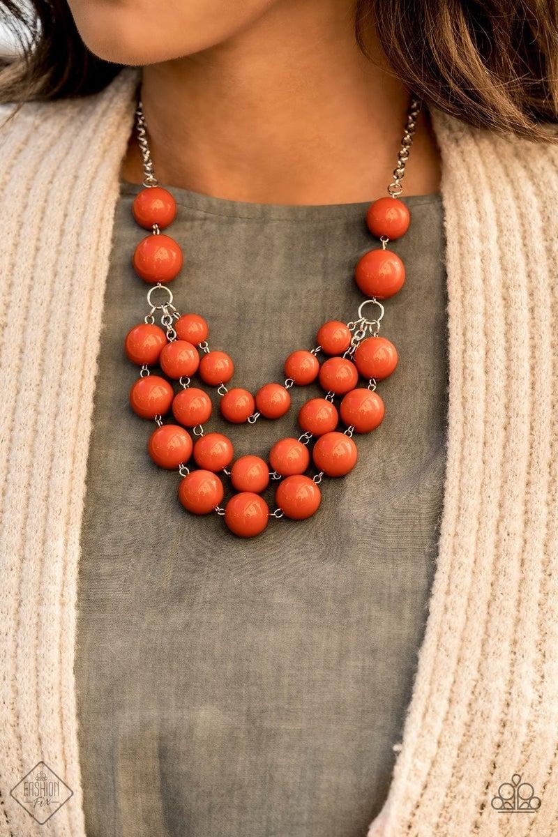 Miss Pop-YOU-larity - Orange Necklace