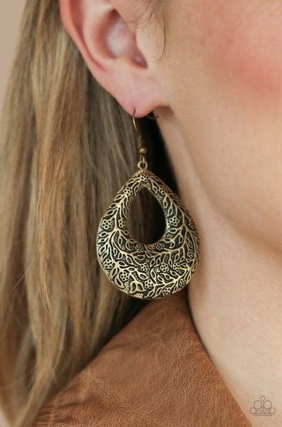 Flirtatiously Flourishing - Brass Earrings
