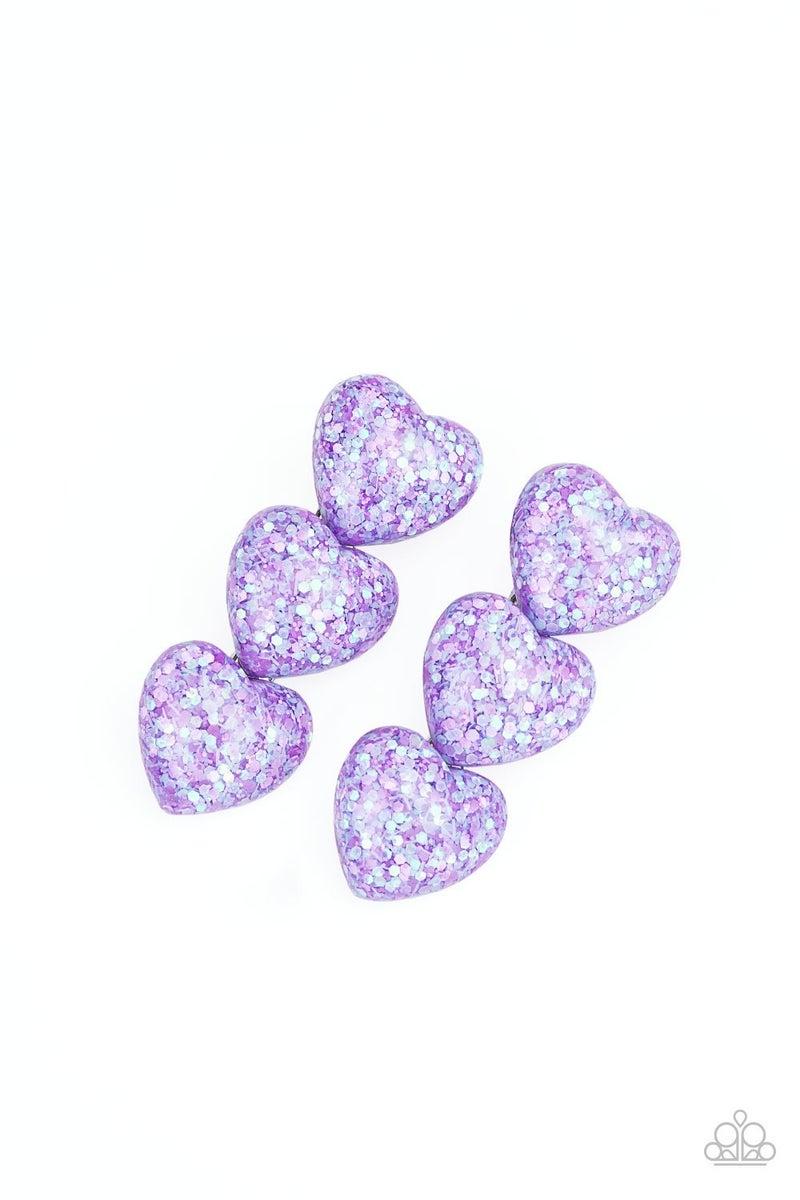 Heart Full of Confetti - Purple Hair Clip