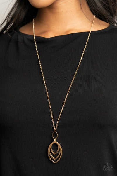 Dizzying Definition - Gold Necklace
