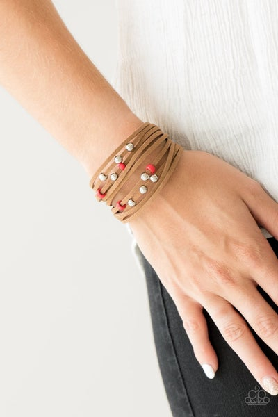 Colorfully Coachella - Red Clasp Bracelet