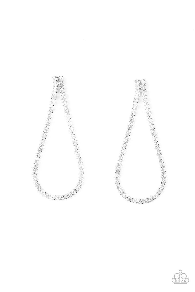 Diamond Drops - White Earrings