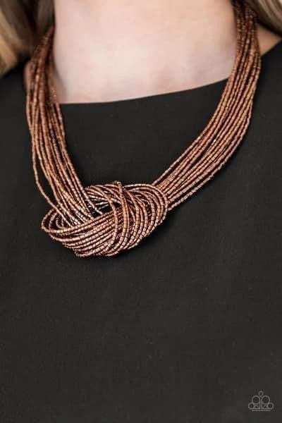 Knotted Knockout - Copper Seed Bead Necklace