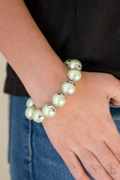 One Woman Show-STOPPER - Green Stretchy Bracelet