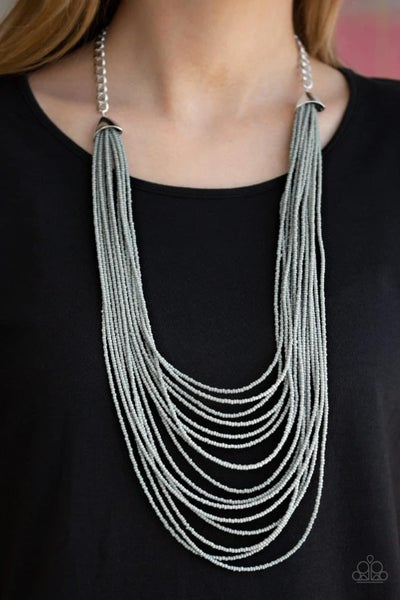 Peacefully Pacific - Silver Seed Bead Necklace
