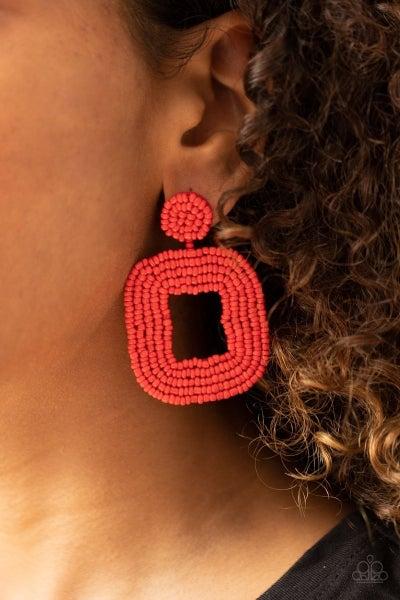 Beaded Bella - Red Earrings