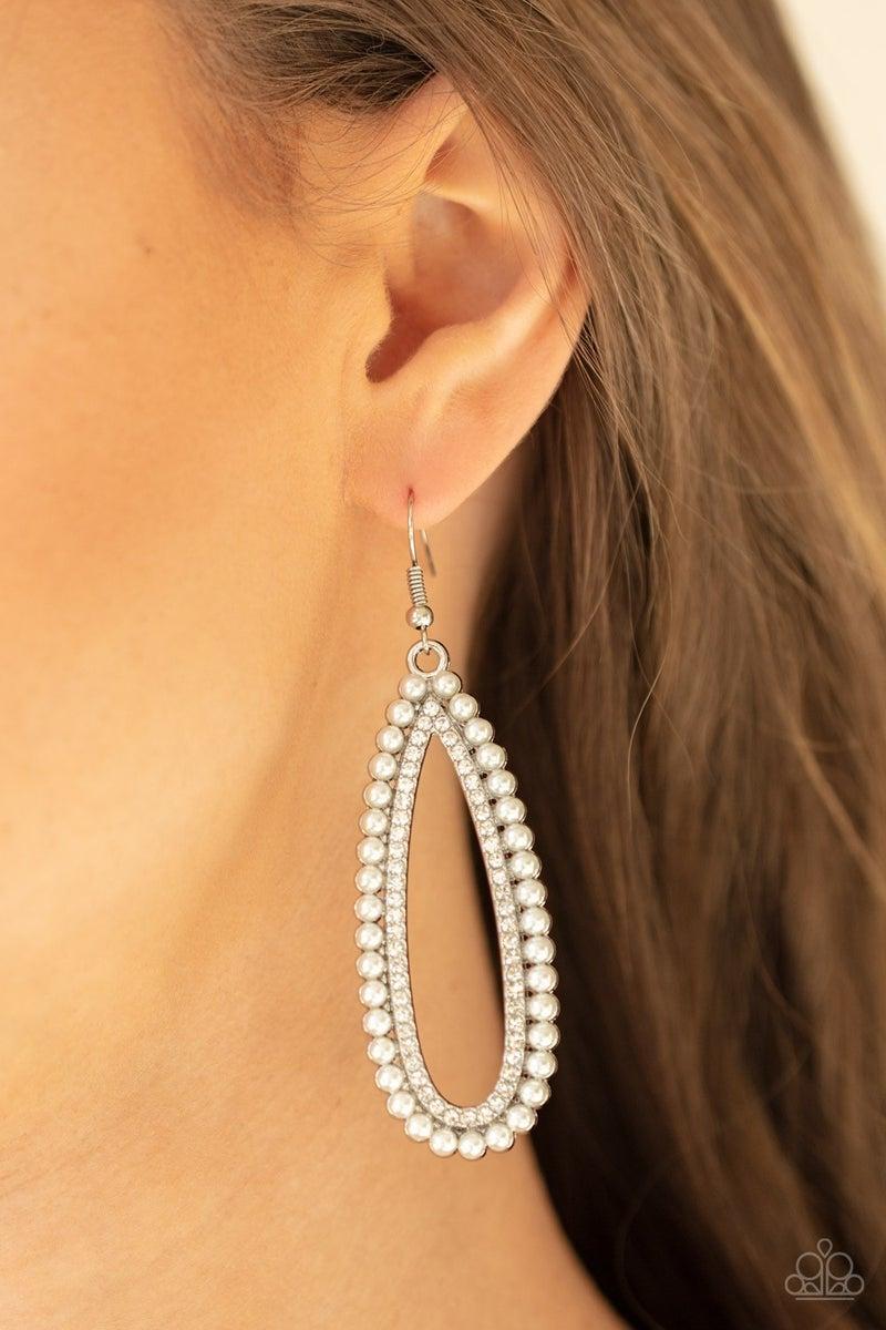 Glamorously Glowing - White Earrings