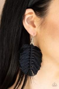 Knotted Native - Black Earrings