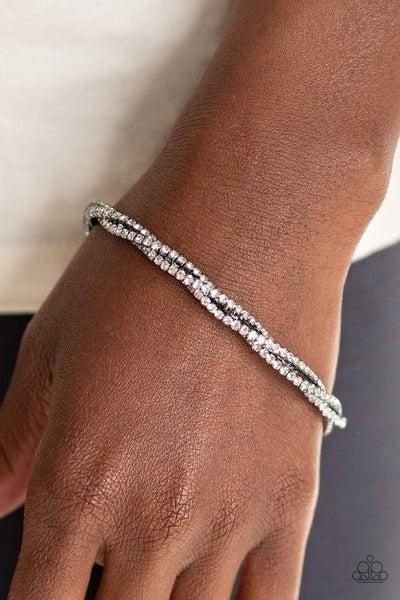 Glitzy Gleam - Gunmetal Stretchy Bracelet