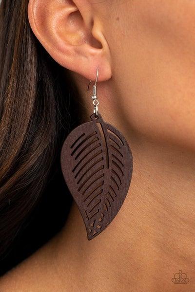 Tropical Foliage - Brown Earrings