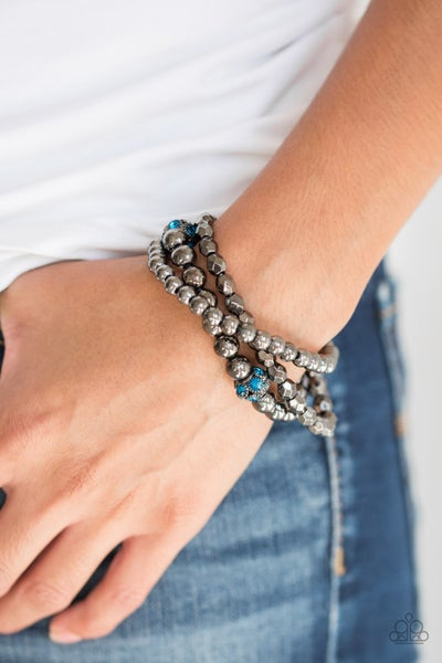 Noticeably Noir - Gunmetal Stretchy Blue Bracelet
