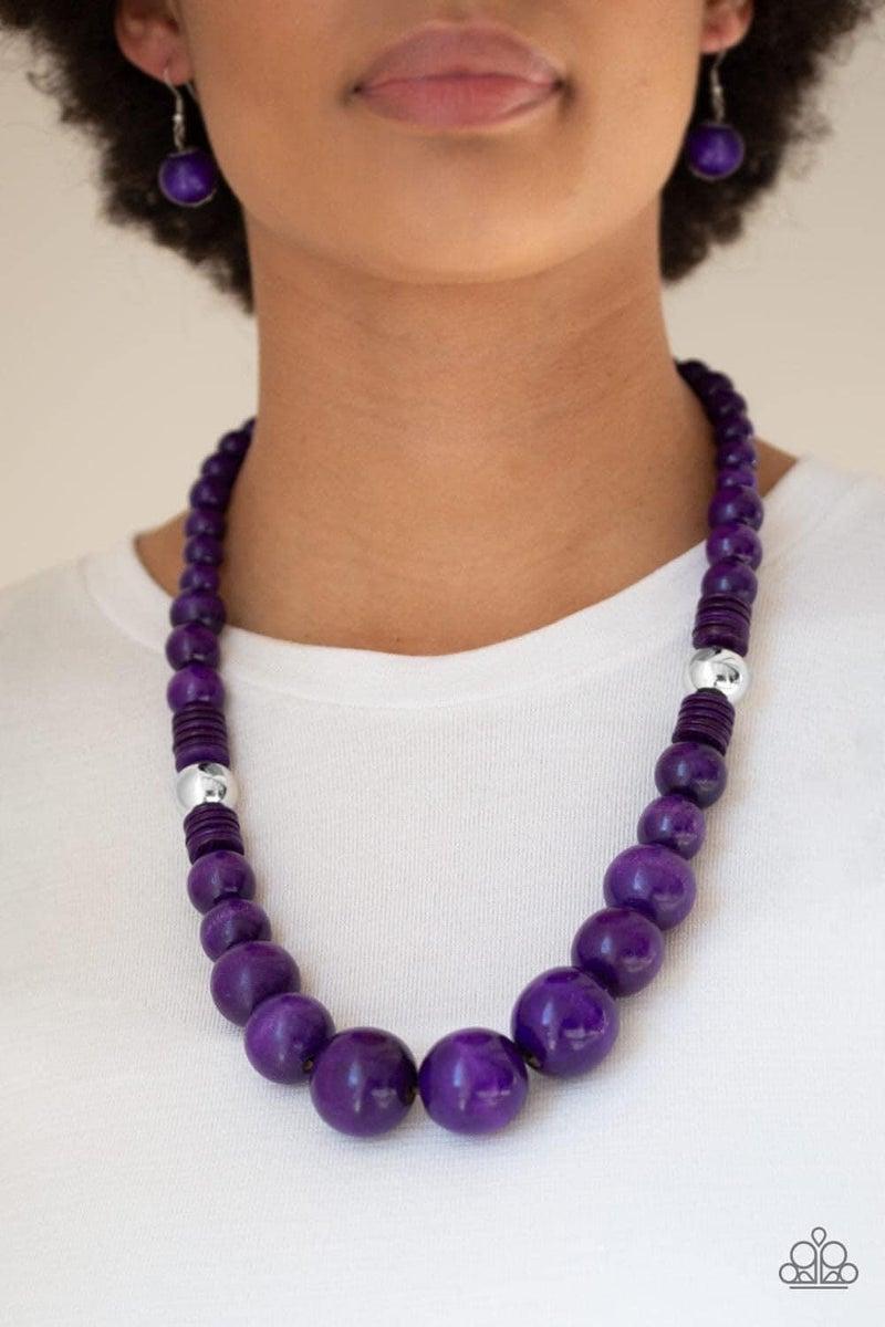 Panama Panorama - Purple Wooden Necklace