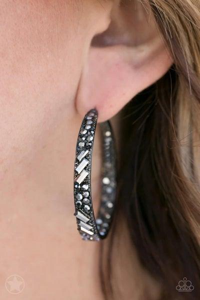 GLITZY By Association - Gunmetal/Black Hoop Earrings