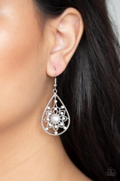 A Flair For Fabulous- White Earrings