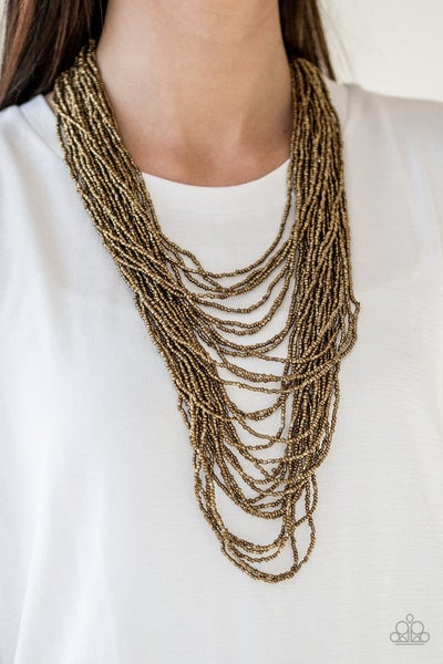 Dauntless Dazzle - Brass Seed Bead Necklace
