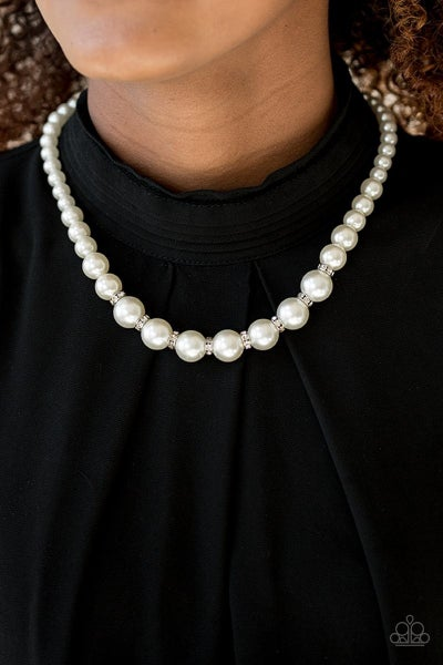 Showtime Shimmer - White Necklace