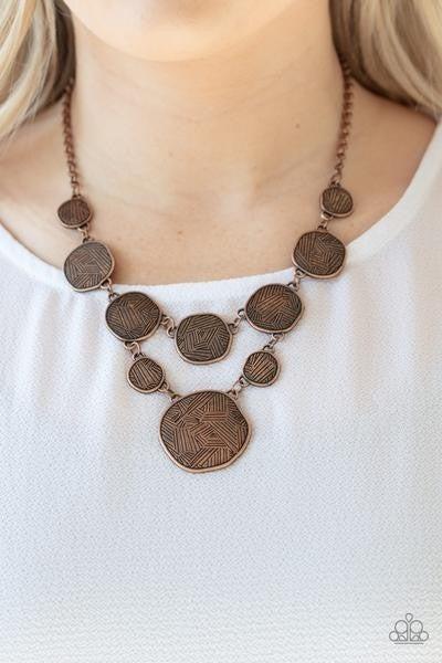 Metallic Patchwork - Copper Necklace