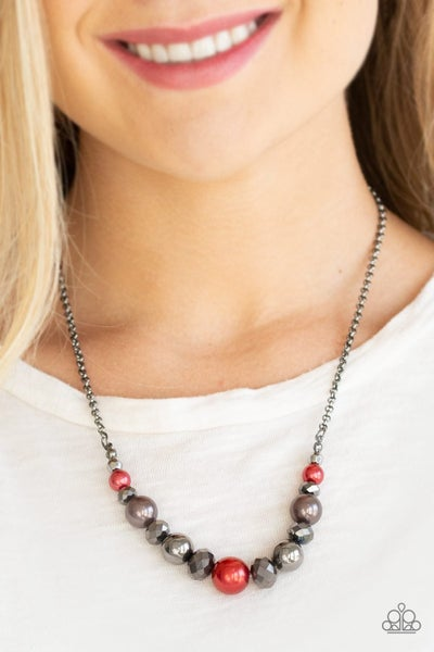 The Big-Leaguer - Red/Gunmetal Necklace