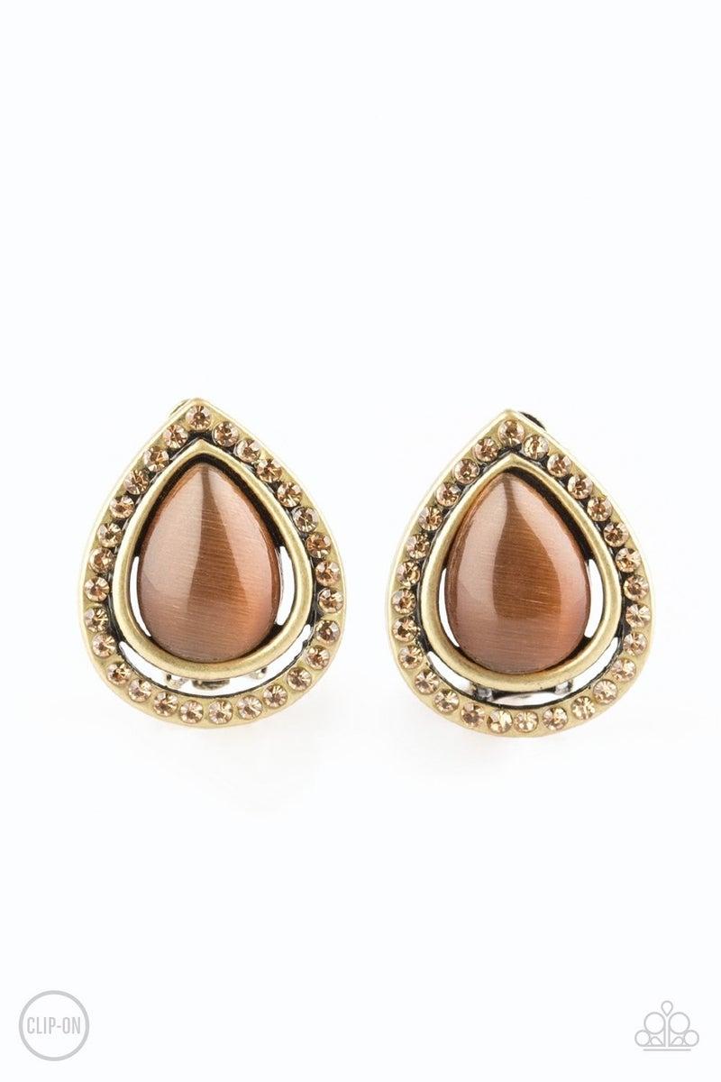Noteworthy Shimmer - Brass Clip-On Earrings