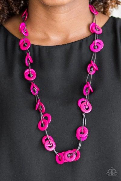 Waikiki Winds - Pink Wooden Necklace