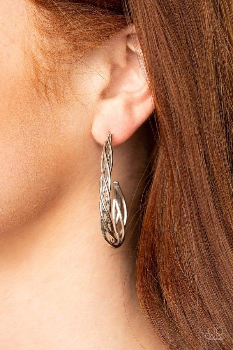Twisted Tango - Silver Hoop Earrings
