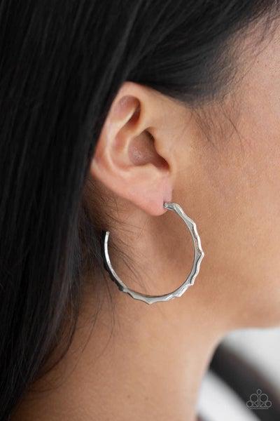 Danger Zone - Silver Hoop Earrings