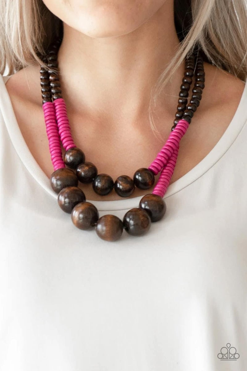 Cancun Cast Away - Pink Wooden Necklace