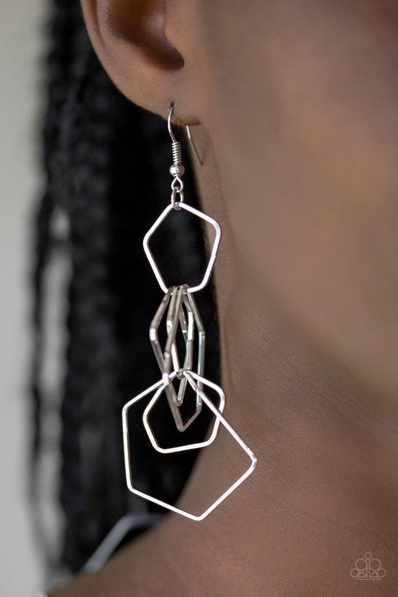 Five-Sided Fabulous - Silver Earrings