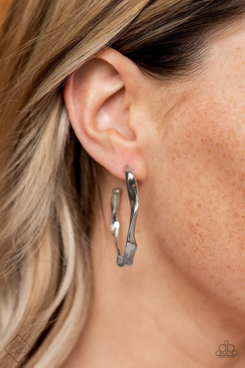 Coveted Curves - Silver Hoop Earrings - June 2021 Fashion Fix