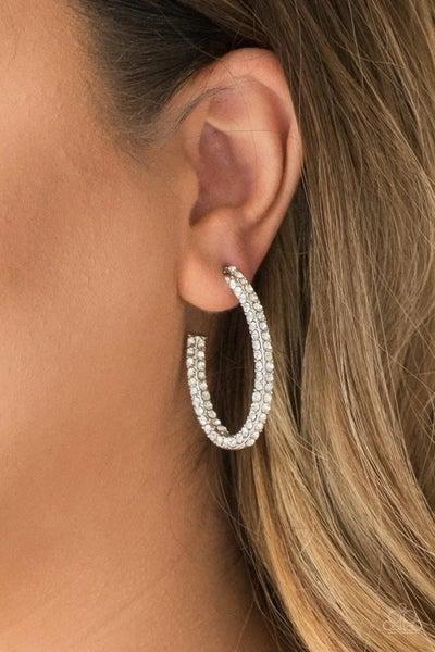 Big Winner - White Hoop Earrings