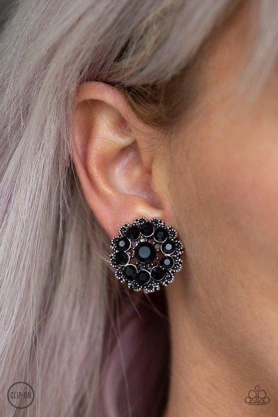 Business Bedazzle - Black Clip On Earrings