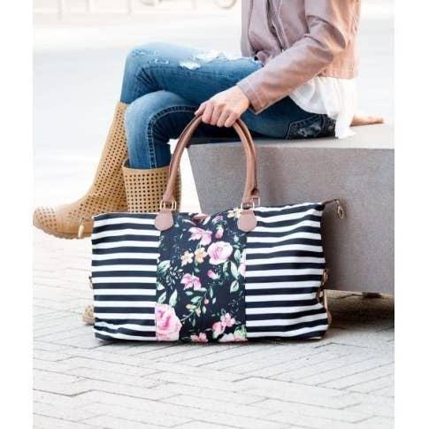 Striped Floral Weekender Bag