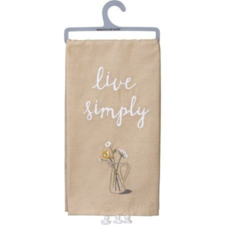 Live Simply Embroidered Towel