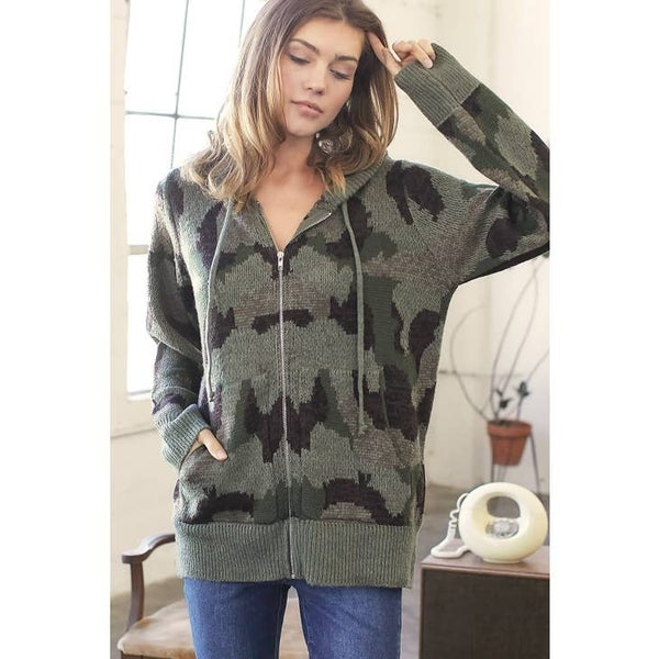 Military Zip Up Hoodie Cardigan
