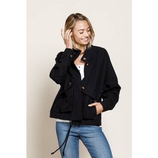 CROPPED TEXTURE MILITARY JACKET