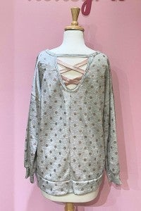 Rose Gold Polka Dot Top with Peek a Boo back