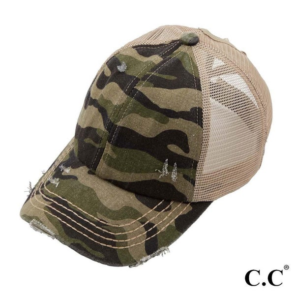 Camo High Ponytail Cap